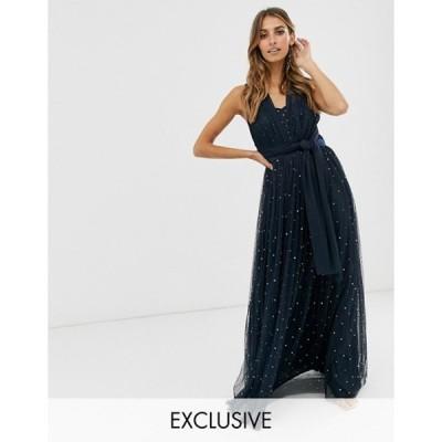 マヤ レディース ワンピース トップス Maya multiway strap maxi dress with embellished skirt in navy