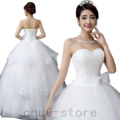 花嫁ウエディングドレス結婚式ホワイト披露宴ロングホワイト二次会