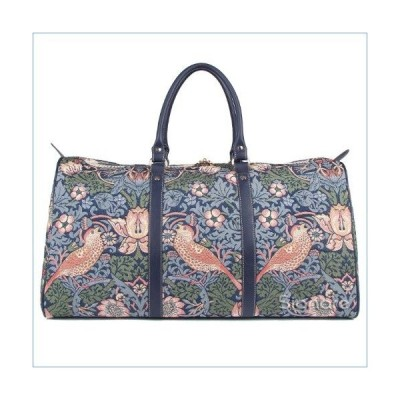Signare Tapestry Large Duffle Bag Overnight Bags Weekend Bag for Women strawberry Thief Blue Design (BHOLD-STBL)並行輸入品