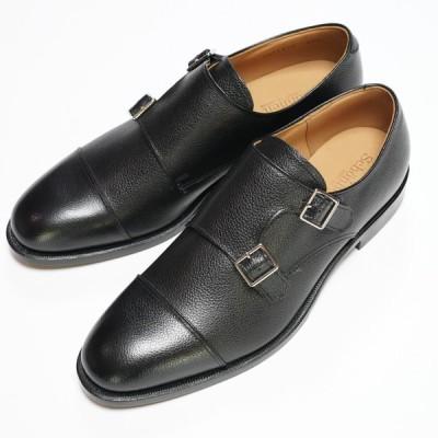 日本製グッドイヤーウエルト紳士靴 ショーンハイト ダブルモンク 「ライトシュリンク」型押し黒 SH111-7-LSBL ラバー底