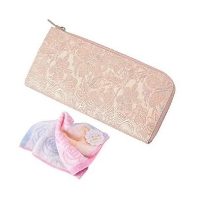 セット品 (アルカン) arukan 財布 クレア Lファスナー レディース 1413657 & バラ柄ハンドタオル