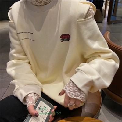 トレーナー 薔薇 ローズ トップス 長袖 ストリート レディース POP オルチャン K スリット 原宿 かわいい 韓国 バラ オフショル