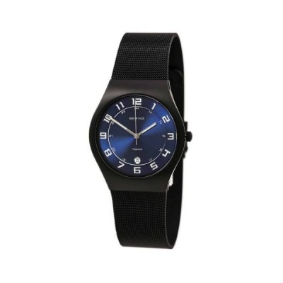 腕時計 ベーリング Bering 11937-227 Gent's Black IP Titanium Bracelet Blue Dial Watch