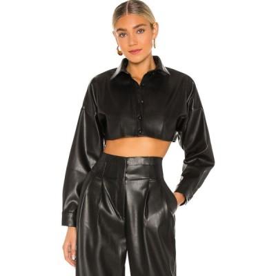 セルマシレック SELMACILEK レディース ベアトップ・チューブトップ・クロップド トップス Vegan Leather Crop Shirt Black