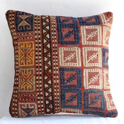 オールドキリムクッションカバー40cm・Turkish Kilim Cushion・トルコのウール手織りキリム バルケスィル・四角いジジム