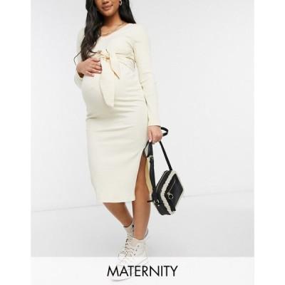 ママリシャス Mama.licious レディース ワンピース マタニティウェア ミドル丈 Mamalicious Maternity Knitted Midi Dress With Tie Waist In Cream クリーム
