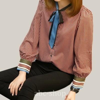 ボウタイトップスブラウス長袖大きいサイズチェックバルーンエレガントwear.com