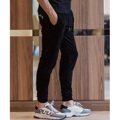 【シフォン】 1PIU1UGUALE3 RELAX(ウノピゥウノウグァーレトレ)刺繍ロゴコットンベロアロングパンツ メンズ ブラック XL SHIFFON