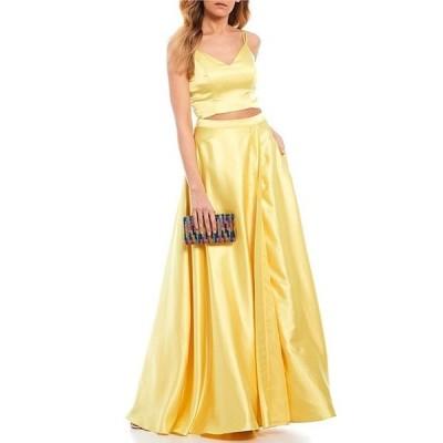 ミッドナイト ドール レディース ワンピース トップス Spaghetti Strap Satin Two-Piece Long Dress
