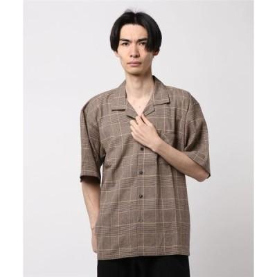 シャツ ブラウス 綿麻チェックオープンカラー開襟半袖シャツビッグシャツビッグシルエットオーバーサイズビジネスカジュアル