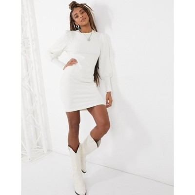 エイソス レディース ワンピース トップス ASOS DESIGN super soft puff sleeve mini dress in winter white