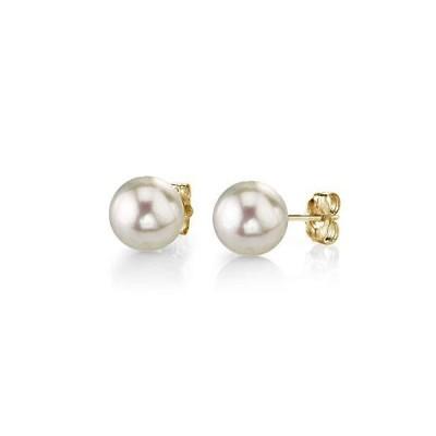 The Pearl Source レディーズ アコヤ養殖真珠のスタッドのイヤリング イエローゴールド 8.5-9.0mm【並行輸入品