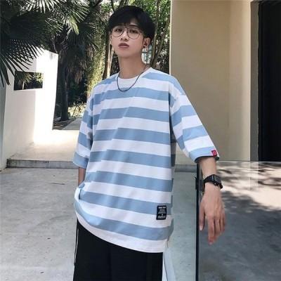 Tシャツメンズ半袖五分丈トップス丸いネックボーダー柄大きいサイズカジュアルクラシックシンプルゆったり夏新作原宿風