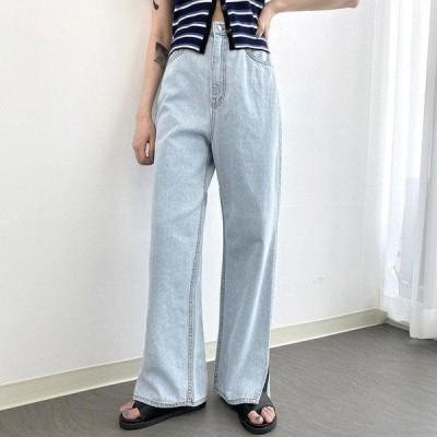 VANILLAMILK レディース ジーンズ Slit straight denim trousers