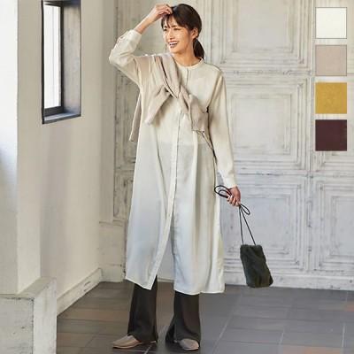 セール☆ワンピース レディース 秋冬 シャツワンピース サテン ロング 長袖 重ね着 上品 ゆったり E2579