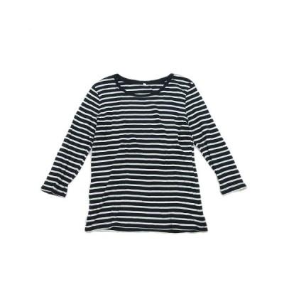 【中古】Tシャツ カットソー ボーダー 七分袖 M 紺 ネイビー ペールグリーン 白 ホワイト/13 レディース 【ベクトル 古着】