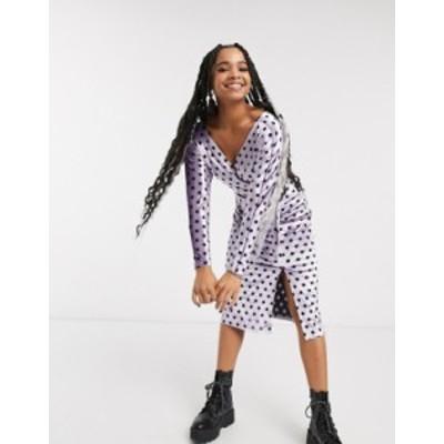 エイソス レディース ワンピース トップス ASOS DESIGN Long sleeve wrap belted midi dress in spot velvet Lilac spot