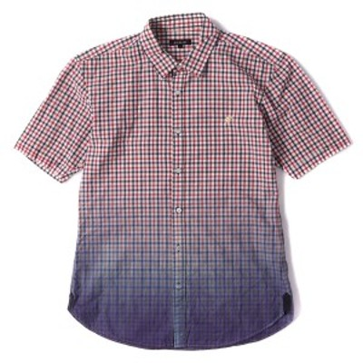 LOVELESS (ラブレス) ワンポイント刺繍グラデーションチェック半袖シャツ レッド×ネイビー 1 【メンズ】【中古】【K2374】