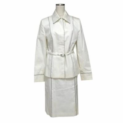 ELLE PLANETE エル パイピングセットアップスーツ (白 ブルゾン スカート) 111351【中古】