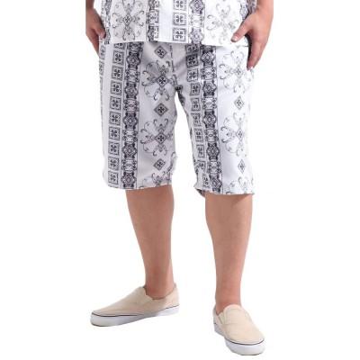(Valletta/バレッタ)【Valletta】 大きいサイズ 総柄プリントデザインショートパンツ[927-002] KINGサイズ 大きめ おおきい キングサイズ ショーツ/メンズ ホワイト系2