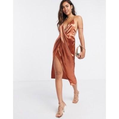 エイソス レディース ワンピース トップス ASOS DESIGN drape front cami slip dress with strap back detail Terracotta