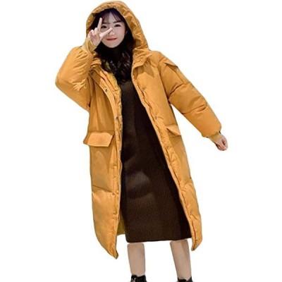 AOZUOダウンコート レディース ロング 膝下丈 フード付き ダウンジャケット 綿入れ防寒 ベンチコート ライト アウトド(s2012250115)