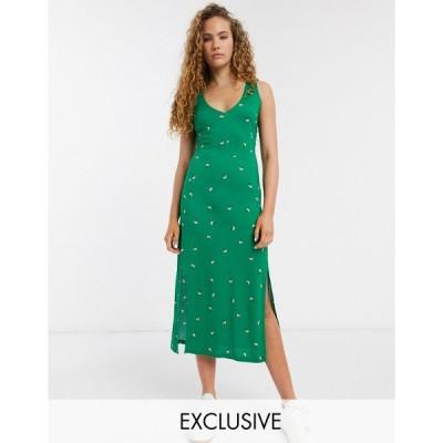 ホイッスルズ ミディドレス レディース Whistles exclusive floral jersey vest midi dress in green floral エイソス ASOS グリーン 緑