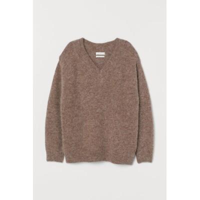 H&M - ウールブレンドセーター - ブラウン