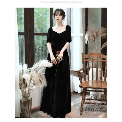 パーティードレス レディース フォーマル 大きいサイズ ワンピース ロングドレス  袖あり ブラック 安い 上品 お呼ばれ 二次会 大人 30代 40代 50代 60代