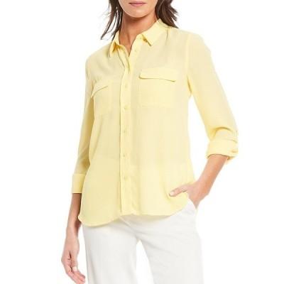 インベストメンツ レディース シャツ トップス Petite Size Olivia Long Sleeve Roll-Tab Button-Front Utility Blouse Sunshine