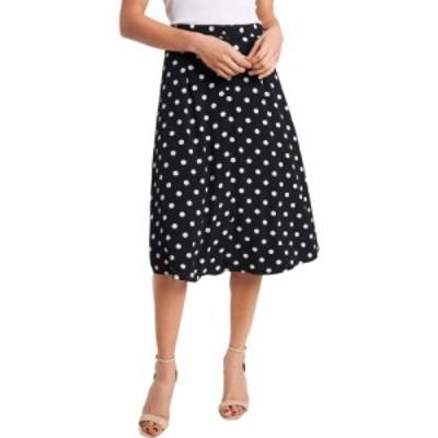 シーシー CeCe レディース ひざ丈スカート スカート Polka Dot Midi Skirt Rich Black