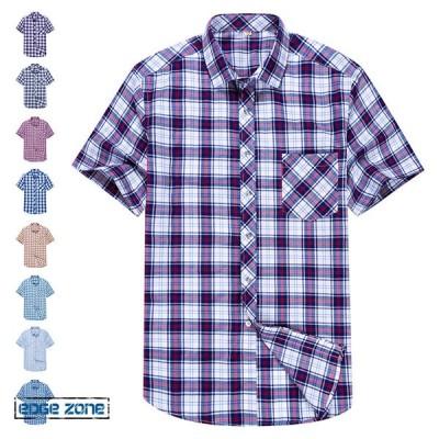 半袖シャツ カジュアル メンズシャツ チェック柄シャツ ビッグシルエット 夏新作 5分袖 コットン 男女兼用 トップス 2021 大きいサイズ