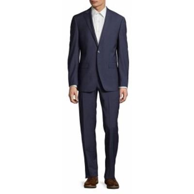 カルバンクライン Men Clothing Slim-Fit Plaid Wool Suit