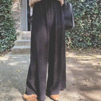 秋冬 売れ筋 人気 ワイドパンツ ウエストゴム リラックス カジュアル ルームウェア パンツ ゆったり トレンド 着まわし ボトム 通勤