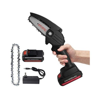 [新品]Jemyda Mini Chainsaw, Power Chain Saws 4 Inch for Wood Cutting and Gardening, Handheld Chainsaw, Rechargeable Electric Chainsaw Cord