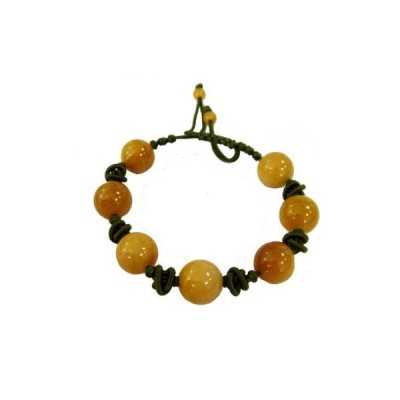 Hand-Tied Natural Yellow Jade Bead Knot-Linked Bracelet with Adjustable Cor