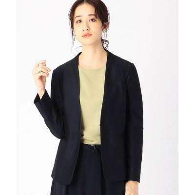 【コムサイズム】 ノーカラー ジャージージャケット <日本素材 ウォッシャブル 吸水速乾 ストレッチ> レディース ネイビー S COMME CA ISM