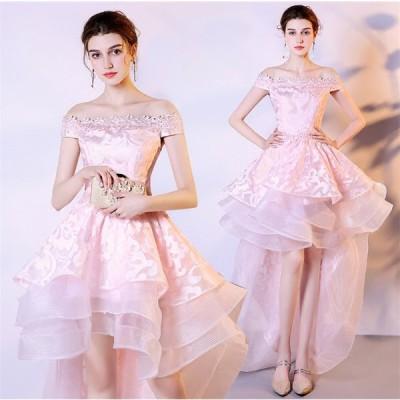 ショートドレス カラードレス ウェディングドレス 結婚式 パーティードレス 大きいサイズ ミニドレス ワンピース 披露宴 二次会 発表会 入学式[ピンク]