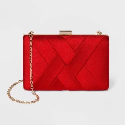 エスティ&リリー Estee & Lilly レディース クラッチバッグ バッグ Textured Satin Basketweave Clutch Red