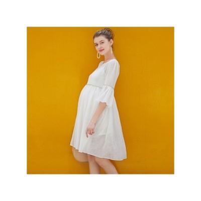 ホワイト  マタニティドレス フォーマル パーティードレス お呼ばれドレス kh-1164