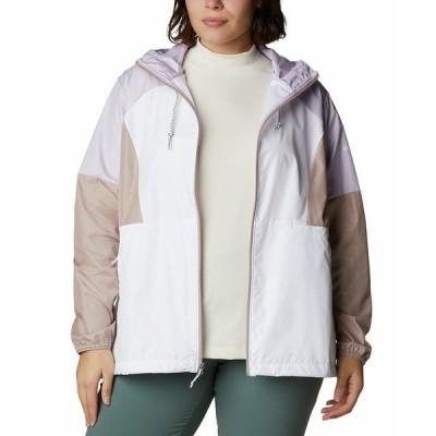 コロンビア ジャケット&ブルゾン アウター レディース Plus Size Active Side Hill Colorblock Windbreaker Jacket White/ Mauve Vapor/ Pale Lilac