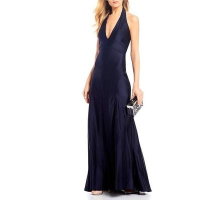ジャンプ レディース ワンピース トップス Halter-Neck Front-Slit Stretch Satin Long Dress