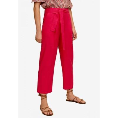 マンゴ Mango レディース クロップド ボトムス・パンツ Cropped Linen-Blend Trousers Bright Pink