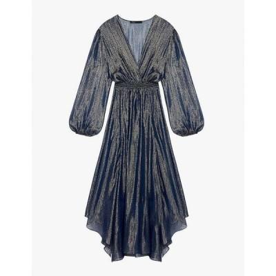 マージュ MAJE レディース パーティードレス ワンピース・ドレス Ruit asymmetric metallic silk-crepe dress NAVY