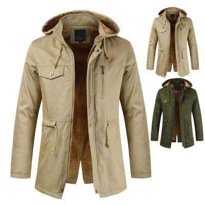 3色 メンズ 中綿ジャケット 中綿コート モッズコート 冬物   モッズコート     防寒  厚手  裏起毛  フード取り外せ可能 フェイクファー  大きいサイズ