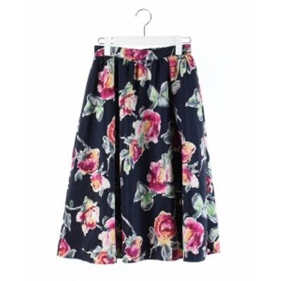 【中古】ビス ViS 18AW スカート フレア 膝丈 花柄 紺 ピンク M /DK30 レディース