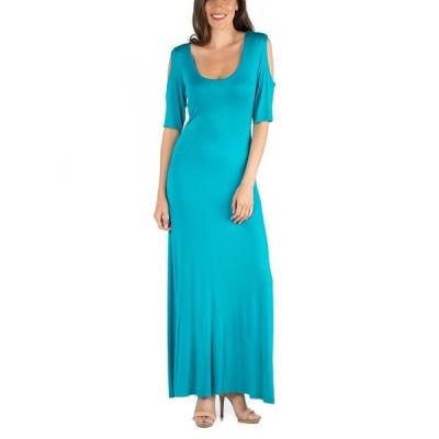 24セブンコンフォート レディース ワンピース トップス Half Sleeve Open Shoulder Maxi Dress