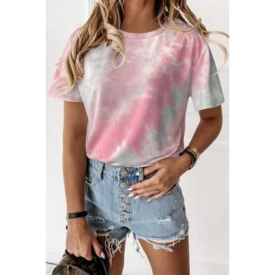レディース 衣類 トップス Women's Round Neck Short-Sleeved Summer Loose Tie Dye Printed Casual T-shirt Tシャツ
