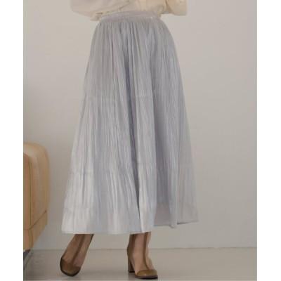 スカート ミクロプリーツサテンスカート