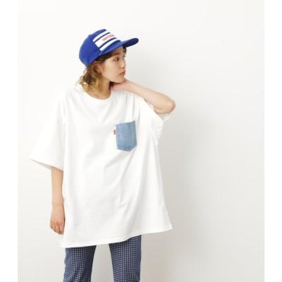 デニムポケットビッグTシャツ WHT